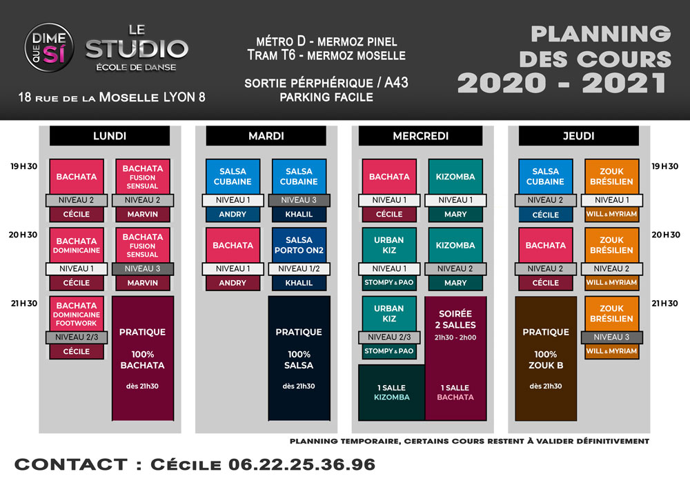 Planning Cours Dime Que Si 2020/21